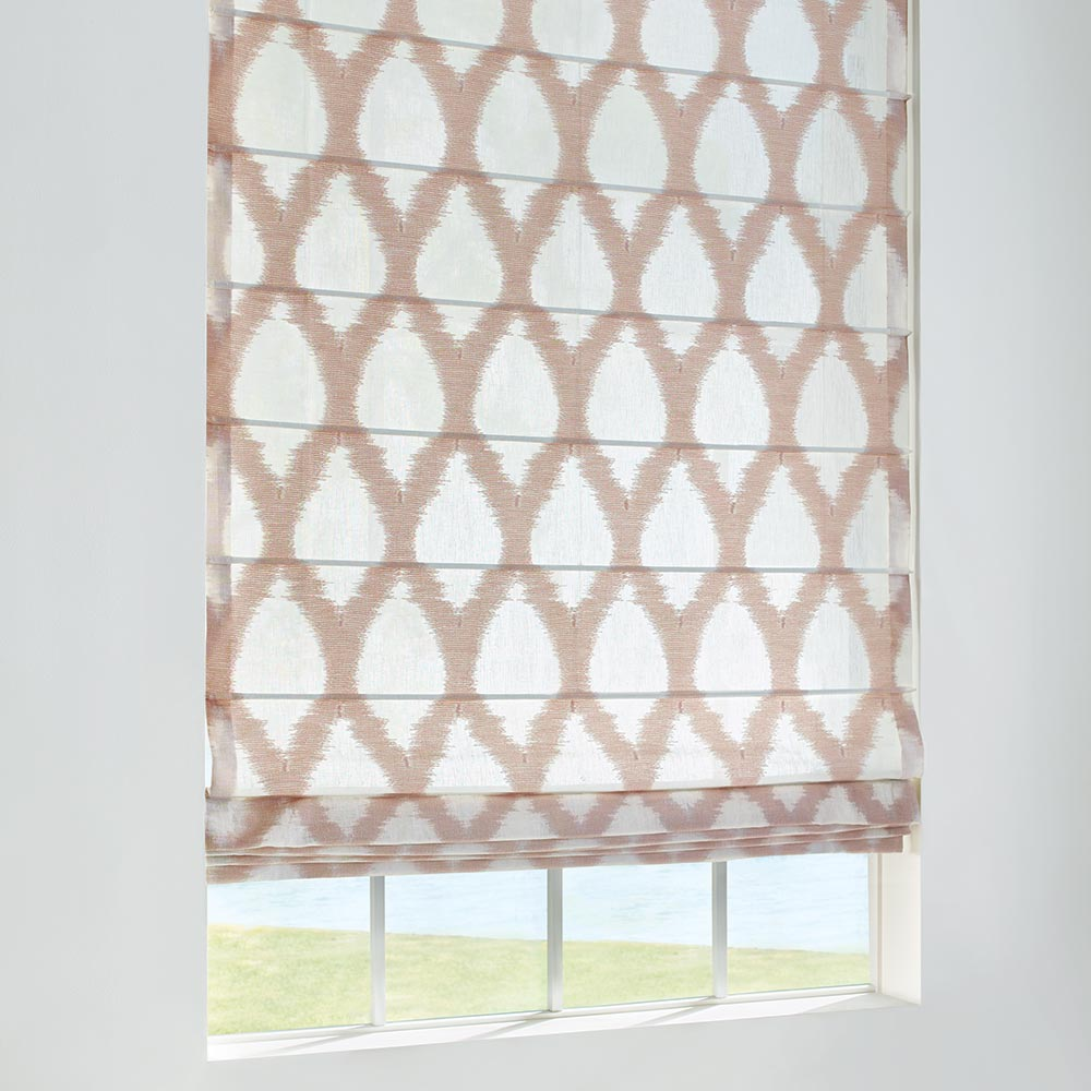 Design Studio roman shades Colette fabric detail.