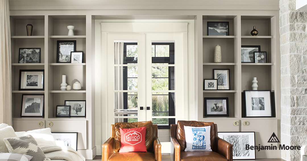 White and grey interior of living room