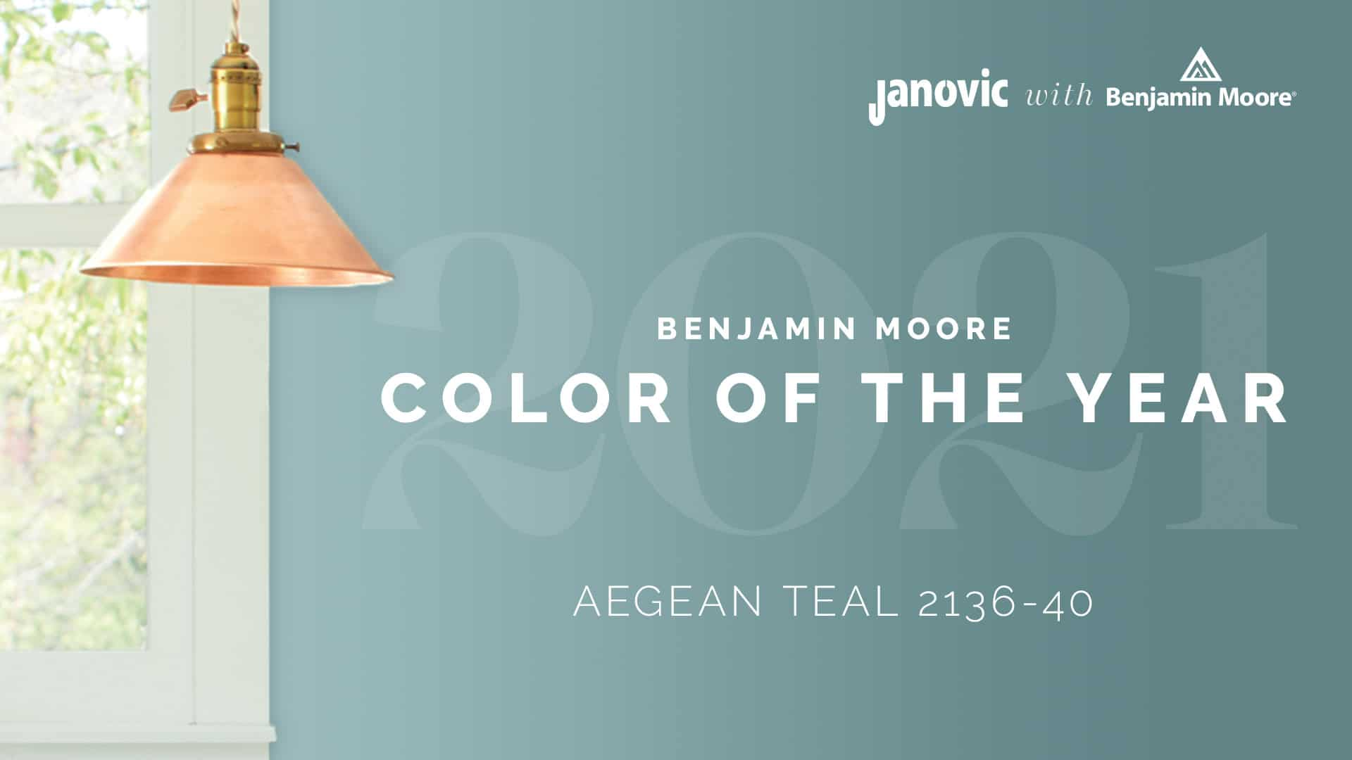 Benjamin Moore Color of the Year 2021 Aegean Teal Janovic Title Image