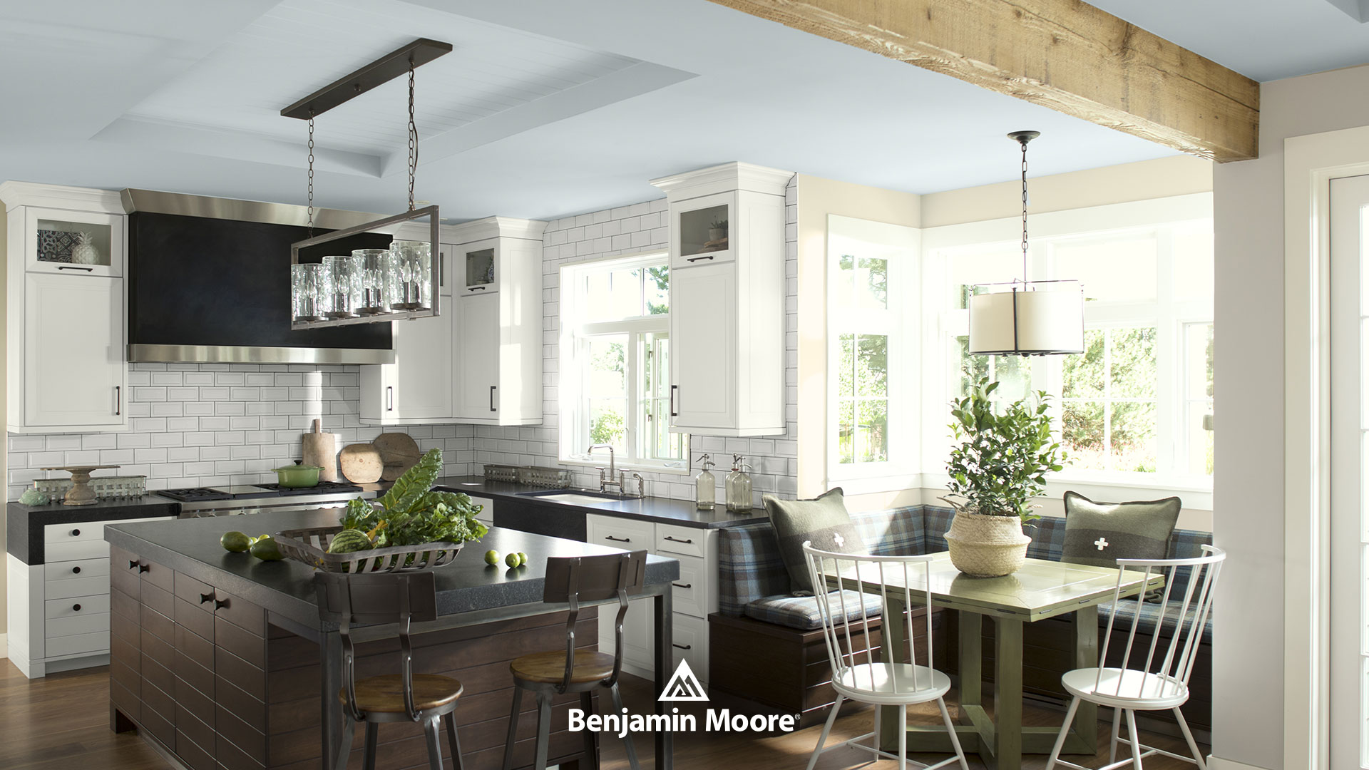 Kitchen in a Benjamin Moore Blue